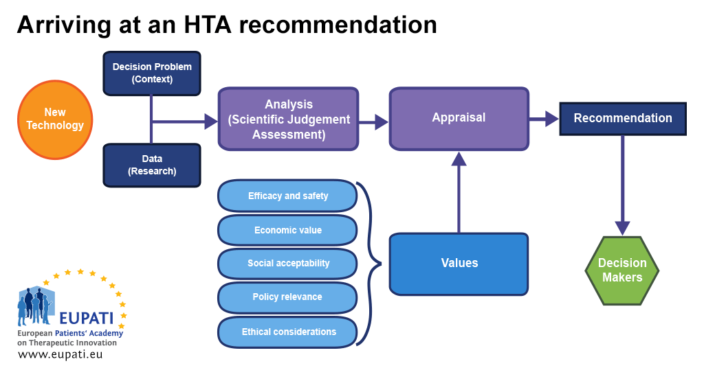A flow chart envisioning the process of arriving at an HTA recommendation.