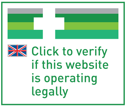 EU online pharmacy logo (UK version) consisting of a white cross over four green lines on the top third of the logo, the national flag of the member state where the pharmacy is operating, and text asking the consumer to click in the logo to verify if the website is operating legally. The logo is intended to allow patients and consumers to be able to identify online pharmacies and retailers that have been approved and that provide authorised medicines.