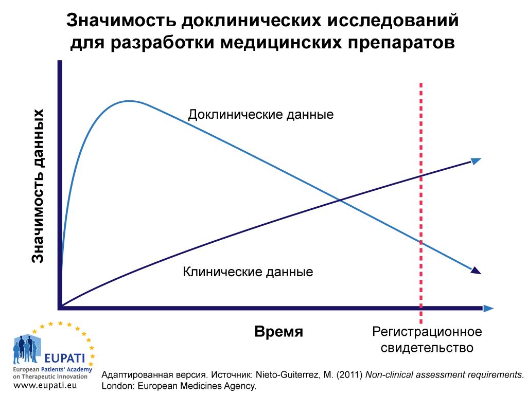 Если в начале периода разработки доклинические данные являются наиболее значимыми, со временем клинические данные превосходят доклинические по этому параметру.